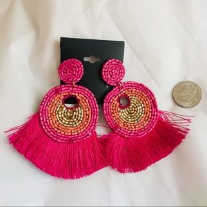 Jewelry - NWT Large Pink Orange Gold Tassel Fringe Earring